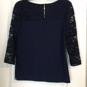 Roz & Ali Tops - Navy blue lace dress top